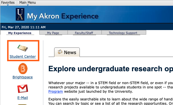 Screenshot of My Experience tab with Student Center highlighted.