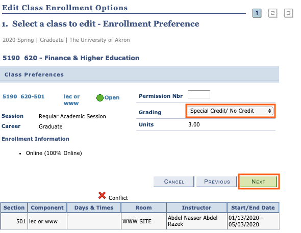 Screenshot of enrollment options with Special Credit/ No Credit option chosen and Next button highlighted.
