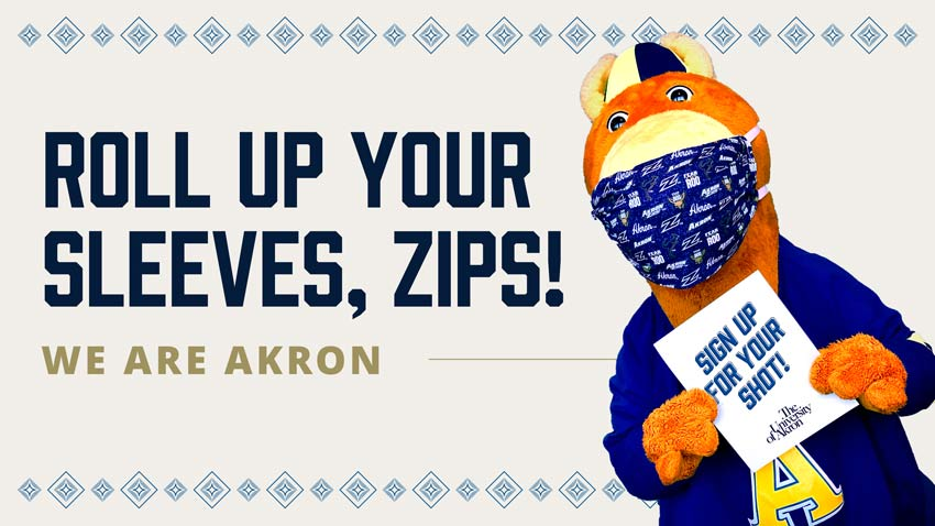Zippy, the university mascot, encourages all to roll up their sleeves and receive the COVID vaccine