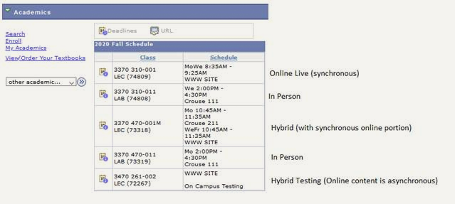 Class schedule for a University of Akron student