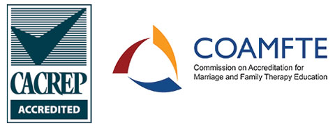 The Council for Accreditation of Counseling and Related Educational Programs and The Commission on Accreditation for Marriage & Family Therapy Education logos