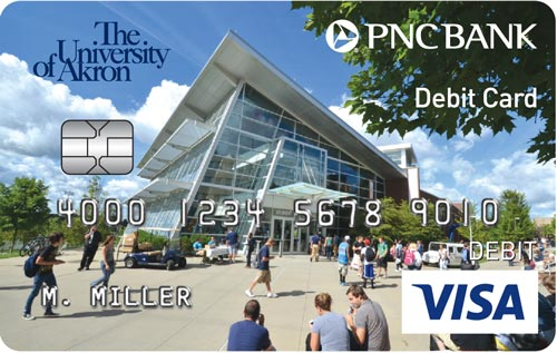The PNC/University of Akron custom debit card with the Student Union in the background of the card.