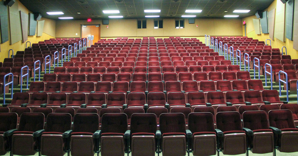 Looking toward the stage in The Gardner Theatre in the Jean Hower Taber Student Union at The University of Akron