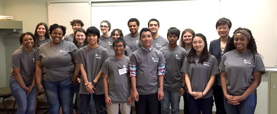 Engineering students with Julie Zhao