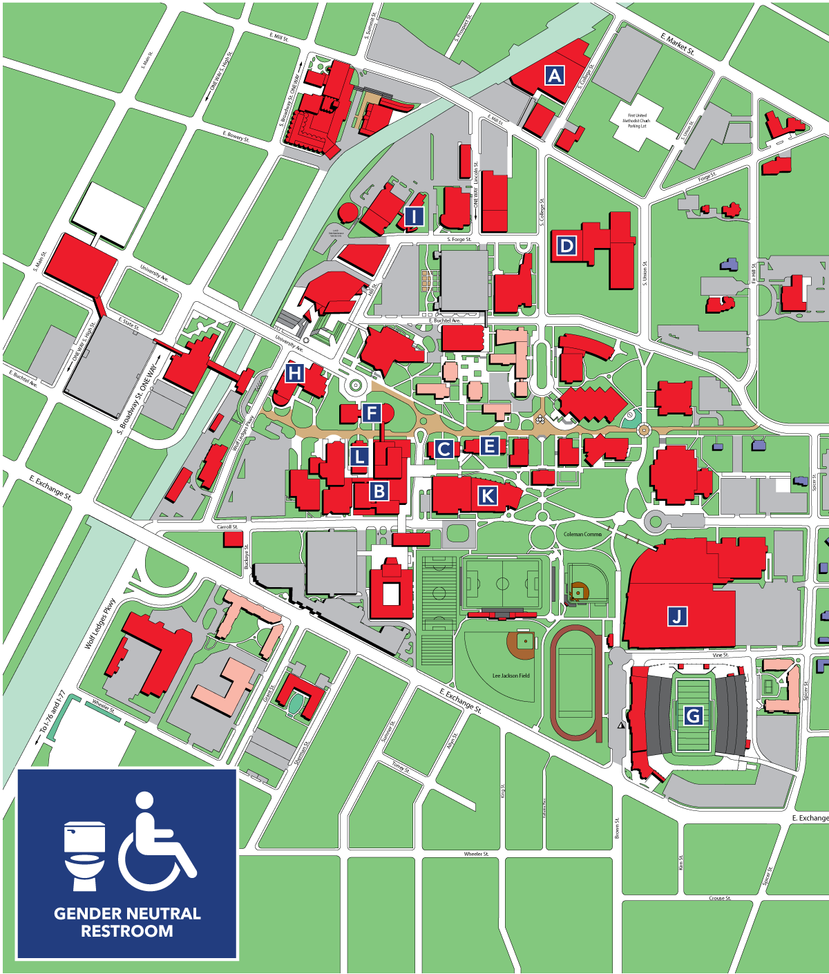gender neutral bathrooms map  university  akron