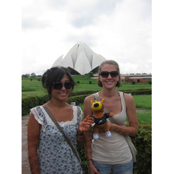 Zippy in front of the Bahai Lotus Temple in New Delhi, India