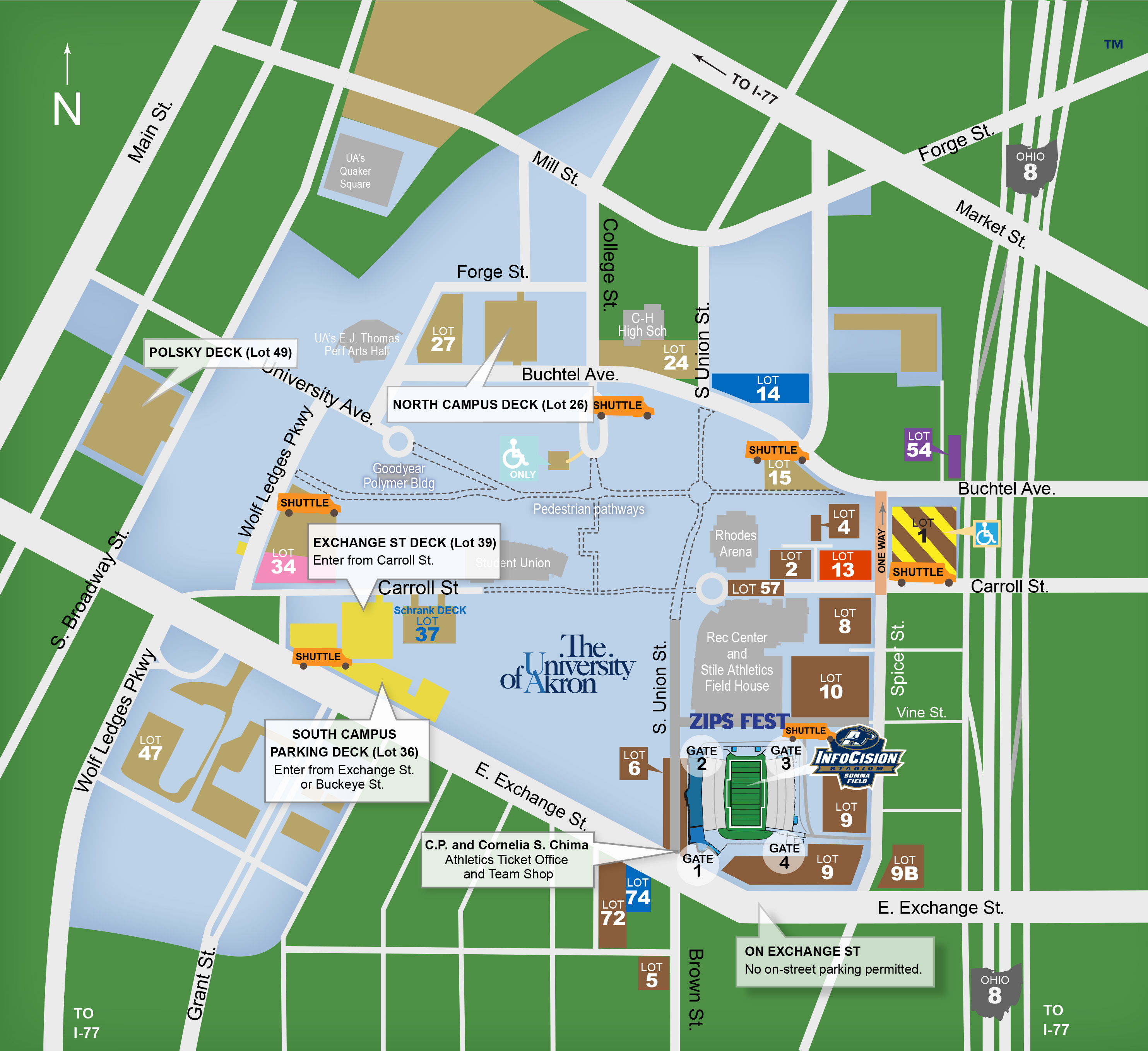 Maps The University Of Akron - Us open parking lot map
