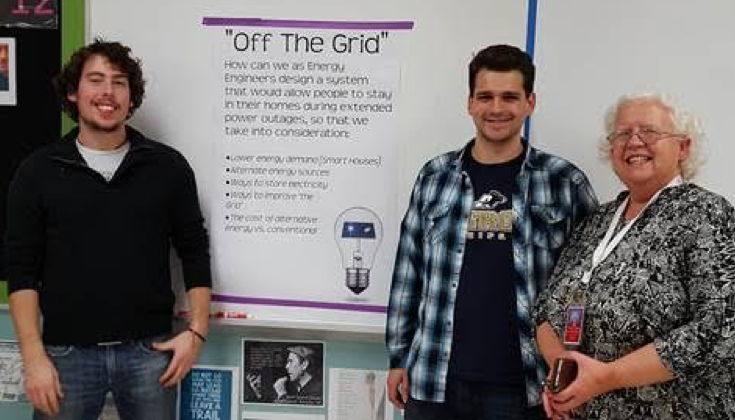 off the grid members Dom Bruno and Scott Michaud and teacher Sharon Kaffe