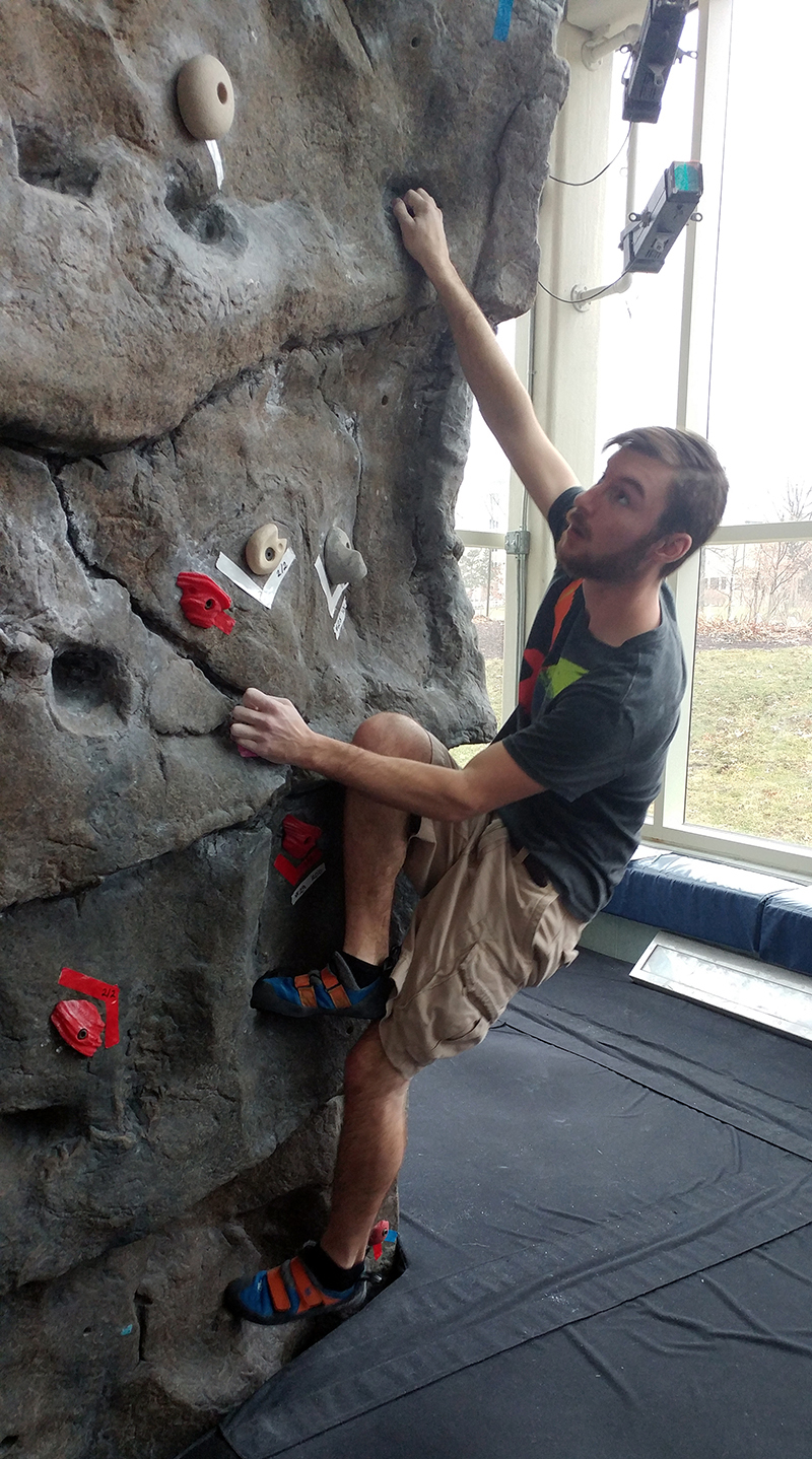Will Snyder placed third in the University Climbing Series hosted at the Student Recreation and Wellness Center.