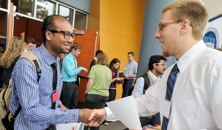 Students at one of the two career fairs held on campus each year