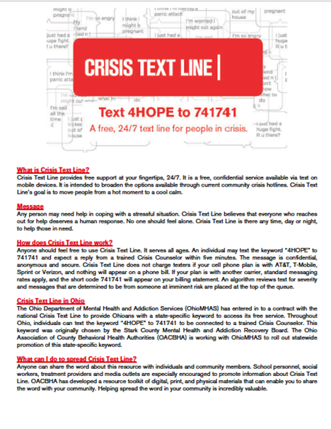Suicide prevention and crisis fact sheet