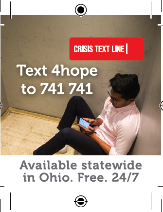 Suicide prevention and text hot line printable informational post cards.