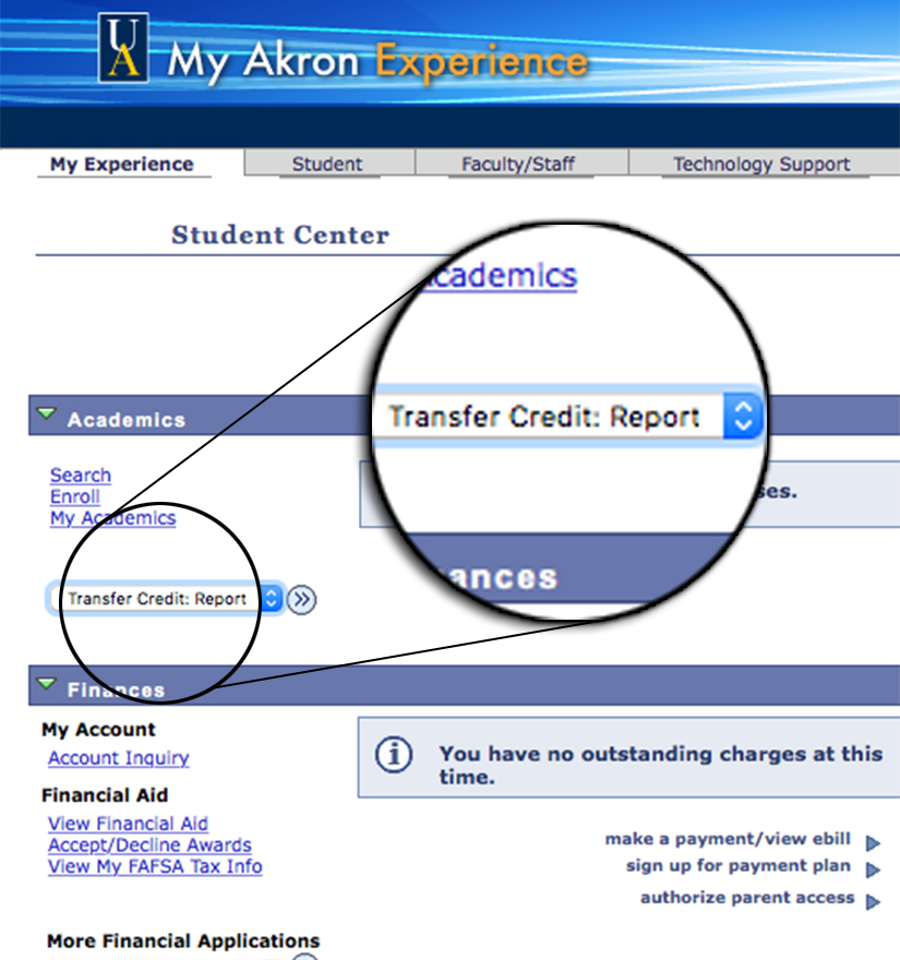 graphic depicting where to look for the transfer credit report